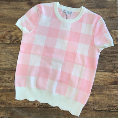 Pink and White Checkered Top