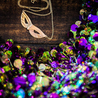 Mimosa Mardi Gras Mask Necklace