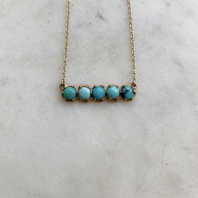 Mimosa Handcrafted 5 Row Turquoise Bar Necklace | Mimosa Handcrafted | Wanderlust By Abby