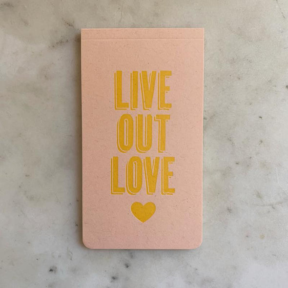 Mimosa Live Out Love Letterpress Notebook | Mimosa Handcrafted | Wanderlust By Abby