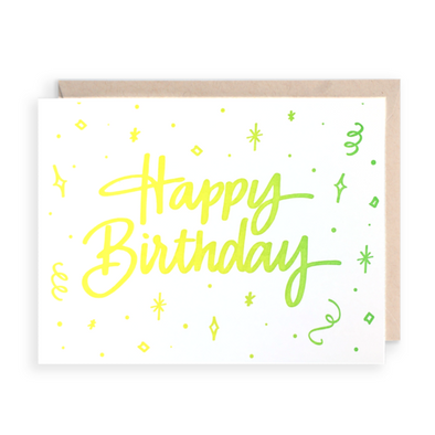 Happy Birthday Neon Greeting Card