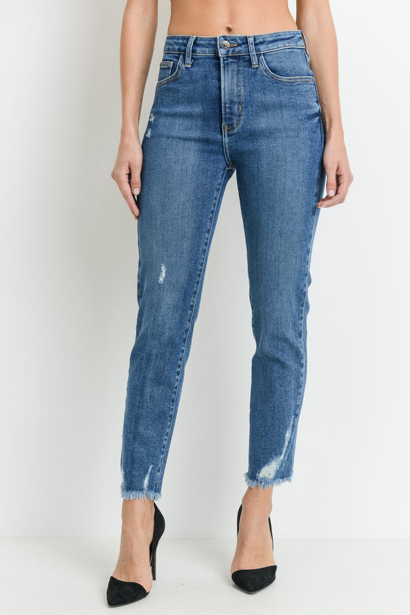 High Rise Straight Leg Denim with Hem Destruction | JBD Denim | Wanderlust By Abby