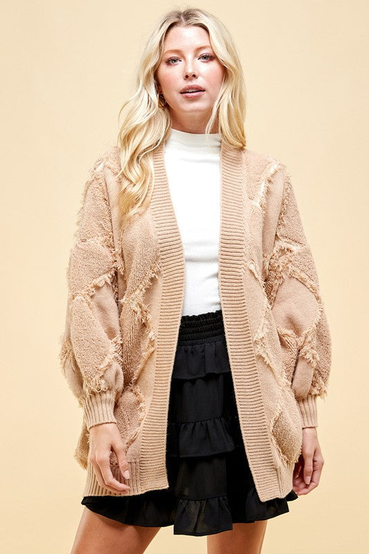 Open Cardigan With Peeling Detail