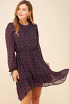 Ditsy Floral Long Sleeve Draw String Wrist Dress