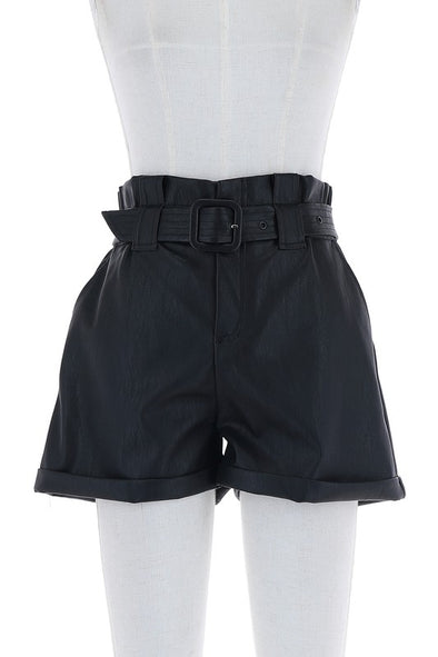 Vegan Leather Belted Shorts
