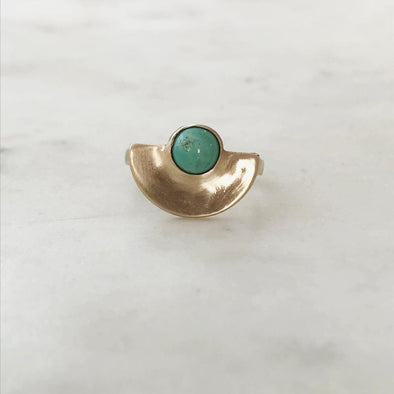 Mimosa Minimal Semicircle Turquoise Ring | Mimosa Handcrafted | Wanderlust By Abby