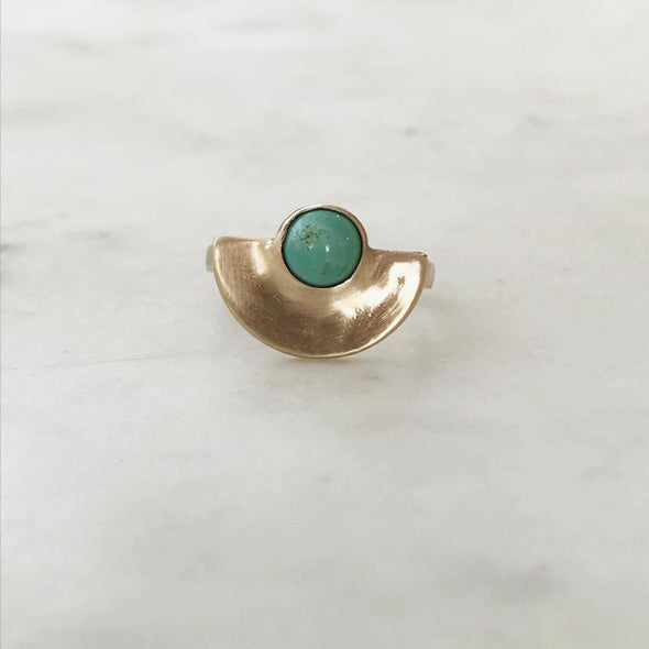 Mimosa Minimal Semicircle Turquoise Ring