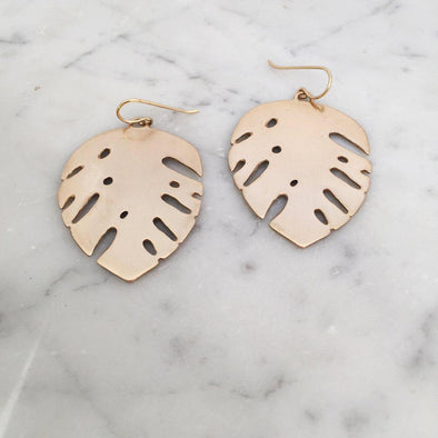 Mimosa Monstera Earrings