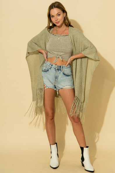 Fringe Knit Poncho Top
