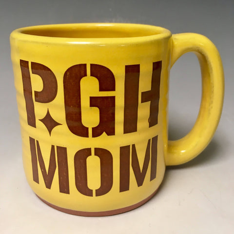 Pittsburgh Mom Mug Gold Handmade  in Pittsburgh by Local Yinzer Artists - Pittsburgh Pottery