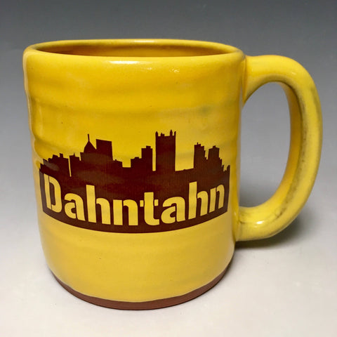 Dahntahn Pittsburgh Mug Gold Handmade in Pittsburgh by Local Yinzer Artists - Pittsburgh Pottery
