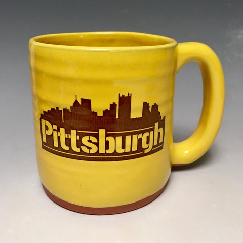 Pittsburgh Mug Gold Handmade in Pittsburgh by Local Yinzer Artists - Pittsburgh Pottery