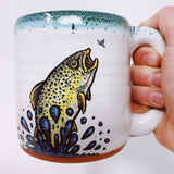 Brown Trout Jumping after Mayfly Handmade Fishing Big Coffee Mug