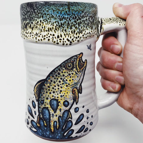 Brown Trout Jumping after Mayfly Handmade Fishing Beer Stein