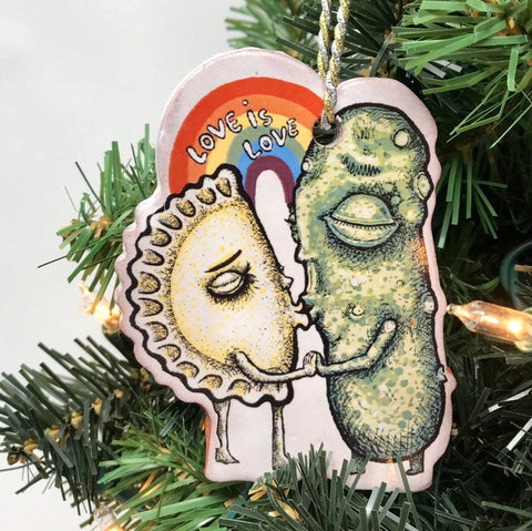 Love is Love Pickle Pierogie Tree Holiday Ornaments