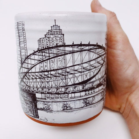 Pittsburgh Artist Series Special Edition Pittsburgh Pottery Mug featuring Klo Rebel's Smithfield Street Bridge
