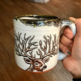 100 Point Buck Mug with Mossy Green and Black Lip Drip