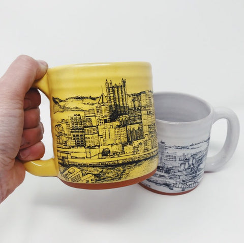 Pittsburgh Artist Series Special Edition Pittsburgh Pottery Mug featuring Klo Rebel's Downtown Pittsburgh