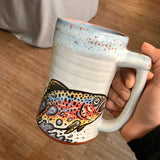 Rainbow Trout Stein with Blue and Orange Lip Drip