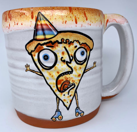 Pizza Party Roller Skater Coffee Mug with Cheesy Lip Drip and Birthday Hat!