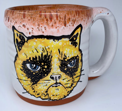 Grumpy Cat Handmade Mug with Red Lip Drip Glaze