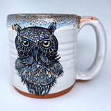 Night Owl Coffee Mug with Blue/Red Lip Drip