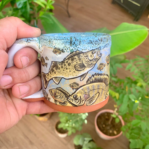 Muskie, Blue Gill, Walleye Fish Sleeve Mug with Yellow, Blue, and Black Lip Drip smaller mug 8oz.