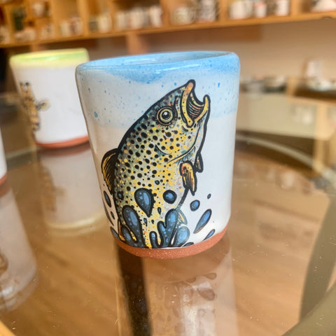 Brown Trout Blastoff Double Shot Glass for the Raddest of Outdoorsman
