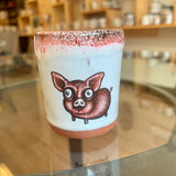 Little Piggy double shot glass with red glaze
