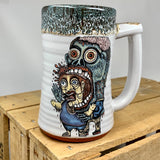 Zombie Eating Brains Stein with Bloody Black Red Lip Drip