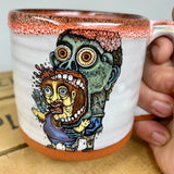 Zombie Eating Brains Small Mug with Bloody Red Lip Drip