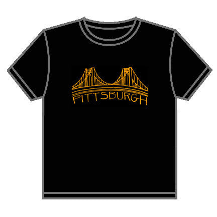 Pittsburgh Bridge T-shirt Black and Gold Local Design Locally Printed Three Sisters Bridges - Pittsburgh Pottery