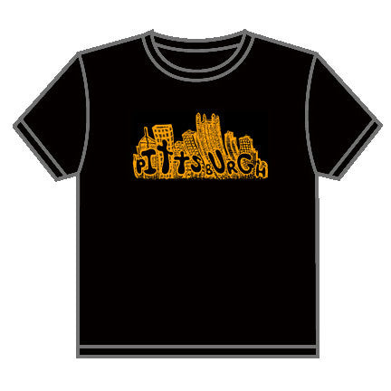 Pittsburgh Cityscape T-shirt Black and Gold Local Design Locally Printed - Pittsburgh Pottery