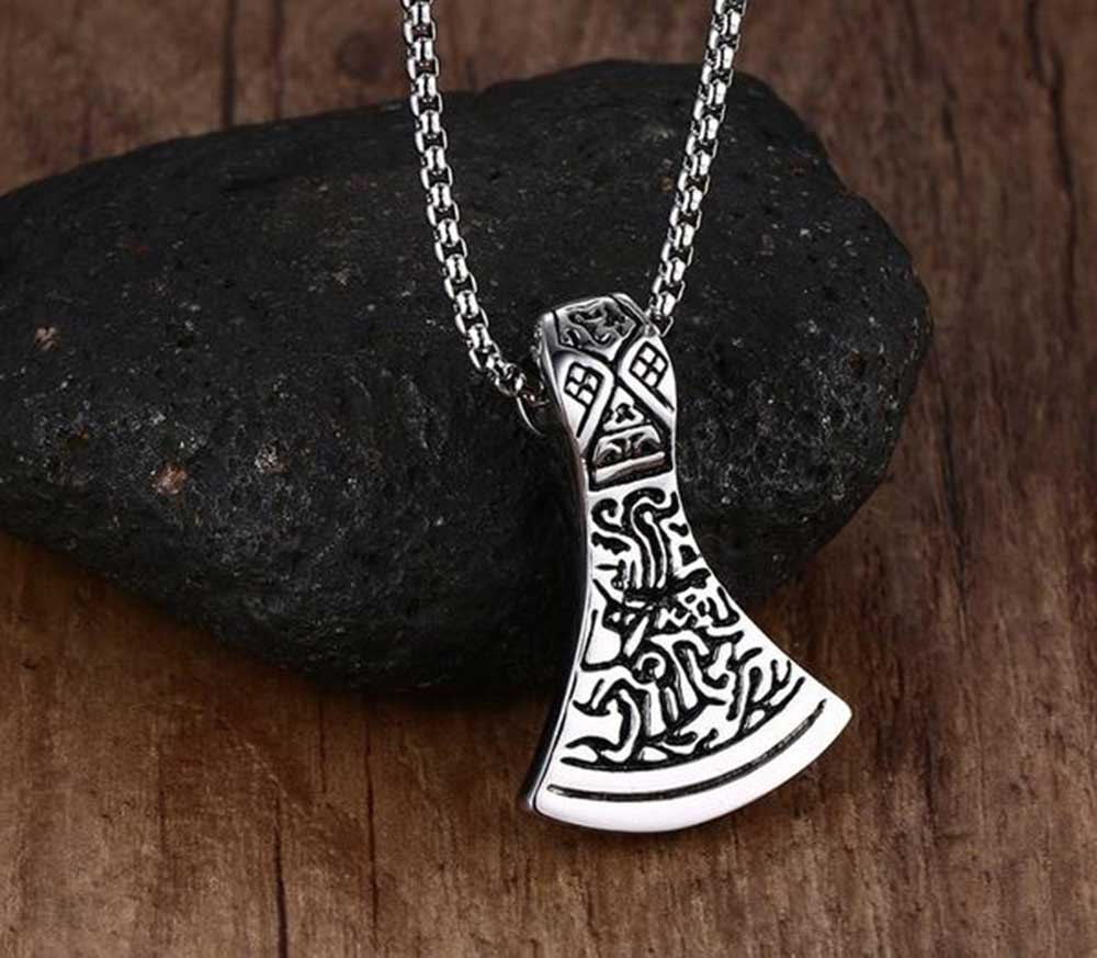 Axe head norse viking stainless steel pendant necklace gorilla grab axe head norse viking stainless steel pendant necklace mozeypictures Choice Image