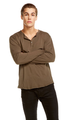 Chaser Men's Cotton Henley Jersey