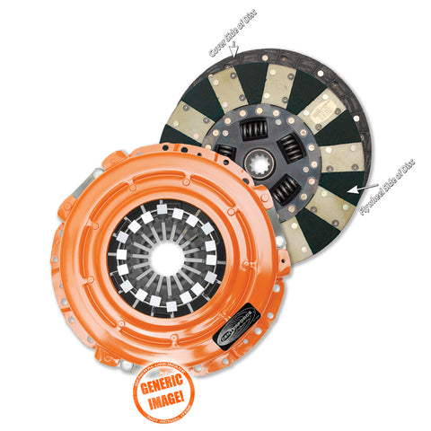 Dual friction clutch pressure plate and disc set