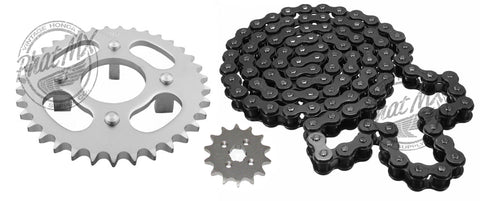 CT70 Sprocket Set Black Chain