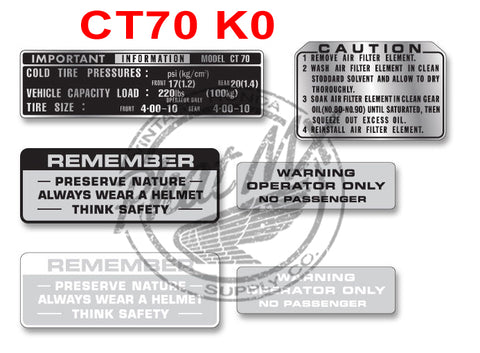 CT70 K0 Warning Decals