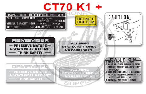 CT70 K1 - 81  Warning Decals
