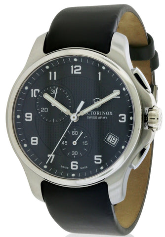 Swiss Army Victorinox Officers Leather Chronograph Watch 241552.1