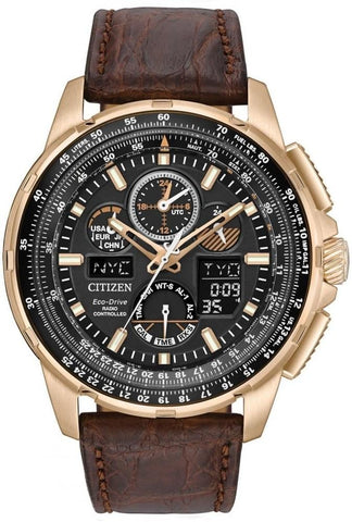 Citizen Eco-Drive Skyhawk A-T Chronograph Leather Watch JY8056-04E
