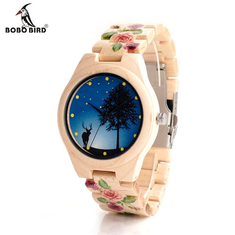 BOBO BIRD Bamboo Wood Flower Band Watch