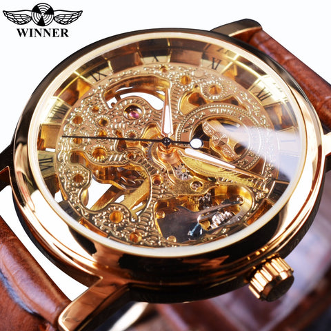T-Winner WIN358 Transparent Golden Case Mechanical Skeleton Watch