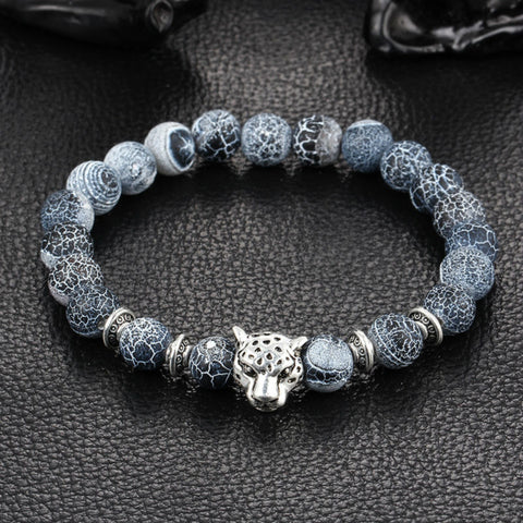 Silver Plated Buddha Leopard Head Lava Stone Beaded Bracelet