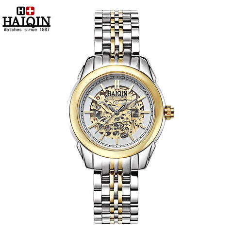 HAIQIN 9108 Luxury Skeleton Waterproof Automatic Mechanical Watch