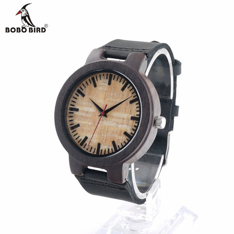 BOBO BIRD C23 Bamboo Ebony Wooden Quartz Analog Watch