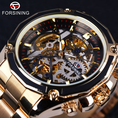 Forsining GMT982 Stainless Steel Skeleton Luxury Automatic Watch