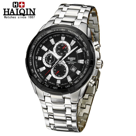 HAIQIN 9036 Waterproof Luminous Stainless Steel Chronograph Quartz