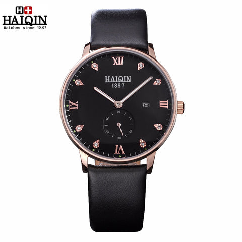 HAIQIN 9818X Leather Quartz Waterproof Watch
