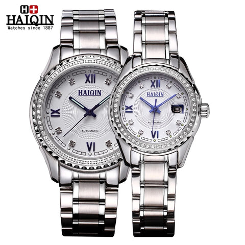 HAIQIN 9042L Pair Luxury Diamond Automatic Mechanical Watch
